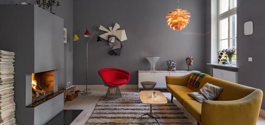 Wohnzimmer von den Berliner Vintage-Händlern Sandra Tietje und Florian von Holstein