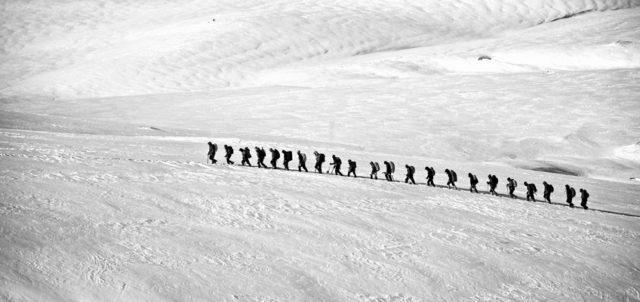 Gruppe auf Gletscher