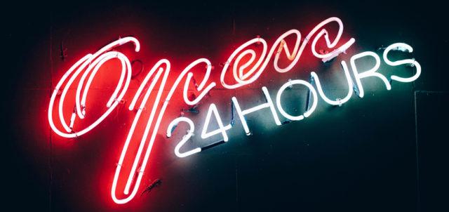 Leuchtreklame Open 24 Hours