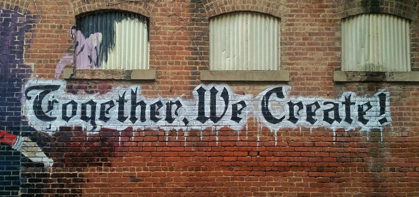 Schriftzug Together We Create