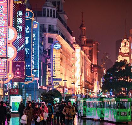 Straßenansicht Shanghai bei Nacht